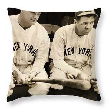 Lou Gehrig And Babe Ruth Throw Pillow by Bill Cannon