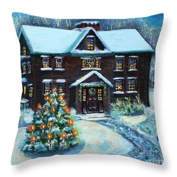 Louisa May Alcott's Christmas Throw Pillow by Rita Brown