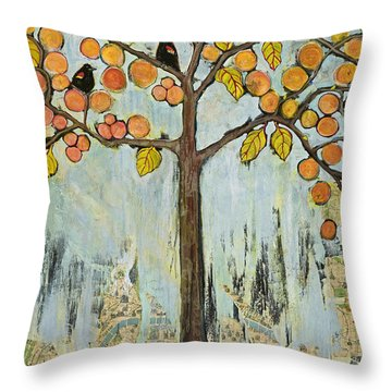 Love Birds In Paris Throw Pillow by Blenda Studio