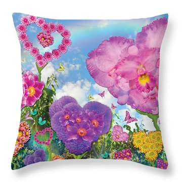 Love Garden Throw Pillow by Alixandra Mullins