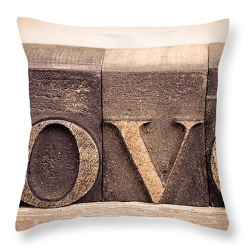 Love In Printing Blocks Throw Pillow by Jane Rix