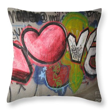 Love. Street Graffiti Throw Pillow by Ausra Huntington nee Paulauskaite