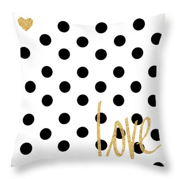 Love With Dots Throw Pillow by South Social Studio