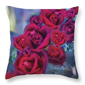 Loveflower Roses Throw Pillow by Alixandra Mullins