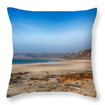 Low Tide At Sennen Cove Throw Pillow by Chris Thaxter