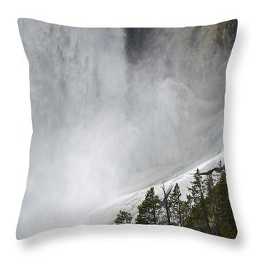 Lower Falls Of The Yellowstone Close-up In Spring Throw Pillow by Bruce Gourley