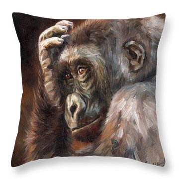 Lowland Gorilla Throw Pillow by David Stribbling