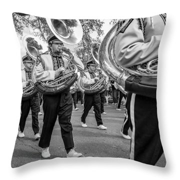 Lsu Tigers Band Monochrome Throw Pillow by Steve Harrington