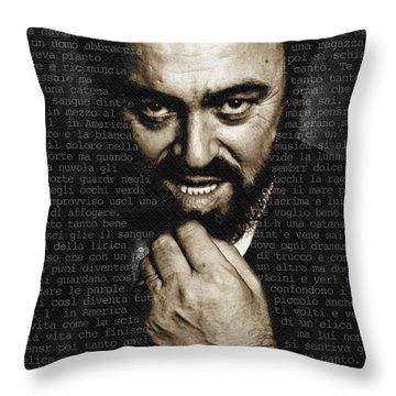 Luciano Pavarotti Throw Pillow by Tony Rubino