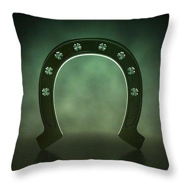 Lucky Shamrock Horseshoe Throw Pillow by Allan Swart