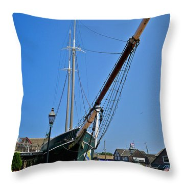 Lucy Evelyn At Schooner's Wharf Throw Pillow by Mark Miller