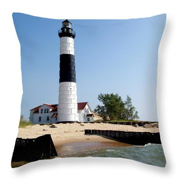 Ludington Michigan's Big Sable Lighthouse Throw Pillow by Michelle Calkins