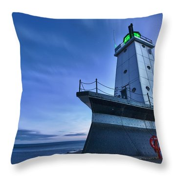 Ludington North Breakwater Lighthouse Throw Pillow by Sebastian Musial