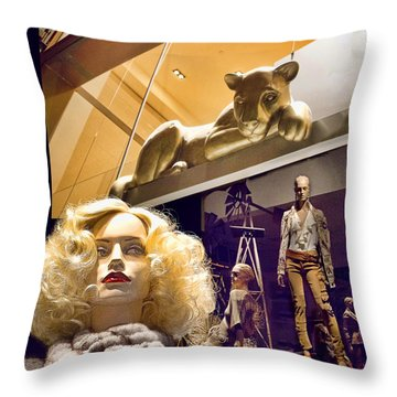 Luna Goes Shopping Throw Pillow by Chuck Staley