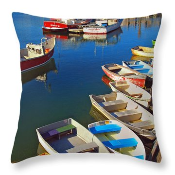 Lunch At The Harbor Throw Pillow by Joann Vitali