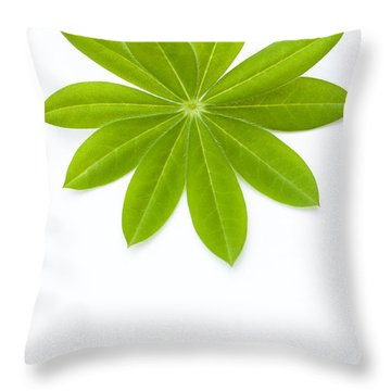 Lupin Leaf Throw Pillow by Anne Gilbert