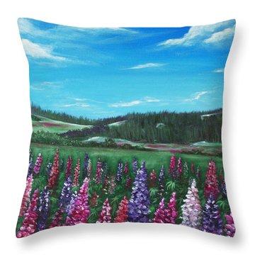 Lupine Hills Throw Pillow by Anastasiya Malakhova