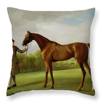 Lustre Held By A Groom Throw Pillow by George Stubbs