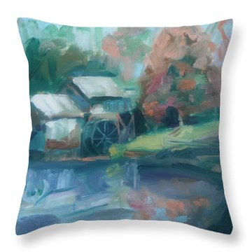 Mabry Mill Throw Pillow by Donna Tuten
