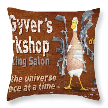 Macgyvers Workshop Throw Pillow by JQ Licensing