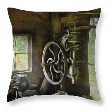 Machine Shop - An Old Drill Press Throw Pillow by Mike Savad