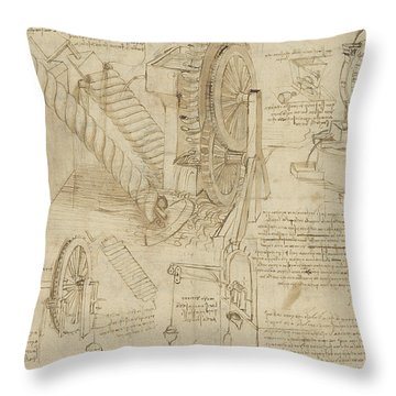 Machines To Lift Water Draw Water From Well And Bring It Into Houses From Atlantic Codex  Throw Pillow by Leonardo Da Vinci