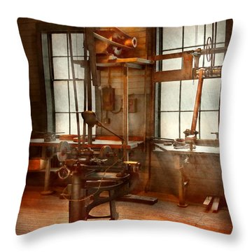 Machinist - A Lone Grinder  Throw Pillow by Mike Savad