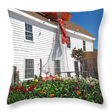 Mac's Seafood Throw Pillow by Barbara McDevitt