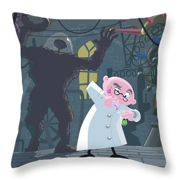 Mad Professor Experiment Throw Pillow by Martin Davey