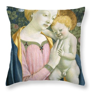 Madonna And Child Throw Pillow by Domenico Veneziano