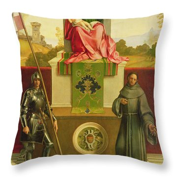 Madonna And Child With Saints Liberale And Francis Throw Pillow by Giorgione