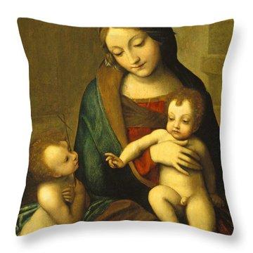 Madonna And Child With The Infant Saint John Throw Pillow by Antonio Allegri Correggio