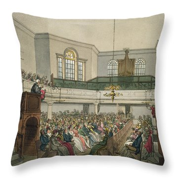Magdalen Chapel Throw Pillow by Pugin And Rowlandson