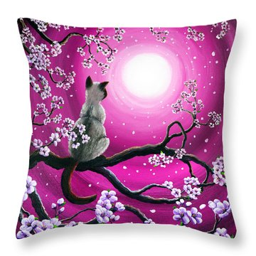 Magenta Morning Sakura Throw Pillow by Laura Iverson