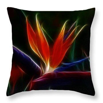 Magical Bird Of Paradise Throw Pillow by Sandra Bronstein