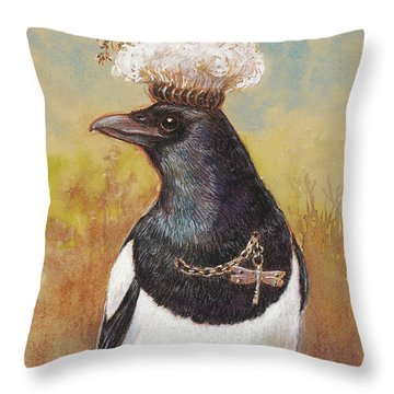 Magpie In A Milkweed Crown Throw Pillow by Tracie Thompson