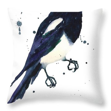 Magpie Painting Throw Pillow by Alison Fennell