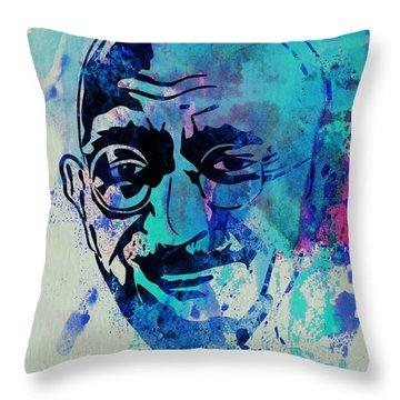 Mahatma Gandhi Watercolor Throw Pillow by Naxart Studio