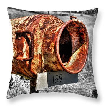 Mailbox With Character Throw Pillow by Kaye Menner
