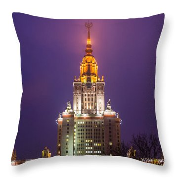 Main Building Of Moscow State University At Winter Evening - Featured 3 Throw Pillow by Alexander Senin