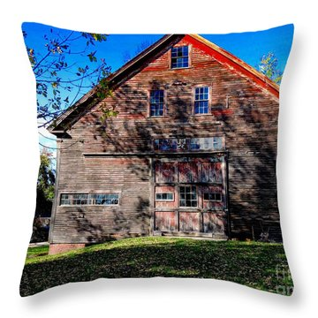 Maine Barn Throw Pillow by Marcia L Jones