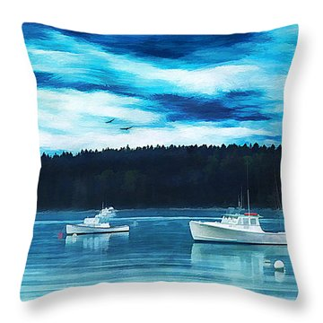 Maine Harbor Throw Pillow by Darren Fisher