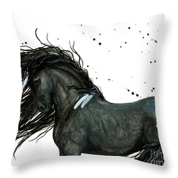 Majestic Friesian 112 Throw Pillow by AmyLyn Bihrle