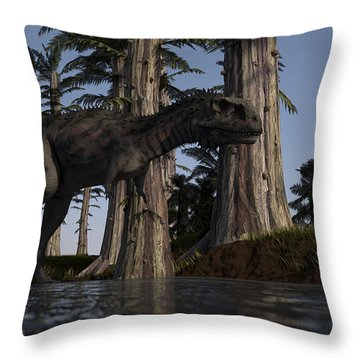 Majungasaurus Hunting For Food Throw Pillow by Kostyantyn Ivanyshen