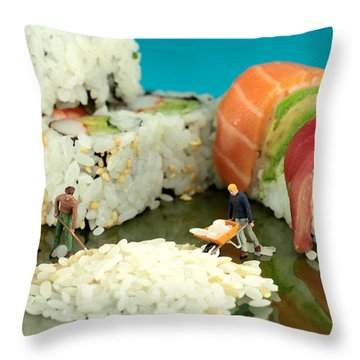 Making Sushi Little People On Food Throw Pillow by Paul Ge