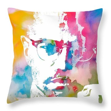 Malcolm X Watercolor Throw Pillow by Dan Sproul