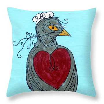 Mama Bird Detail Throw Pillow by Genevieve Esson