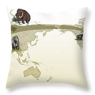 Mammoth Evolutionary Migration Throw Pillow by Spl