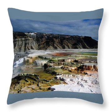 Mammoth Hot Springs Throw Pillow by Robert Woodward