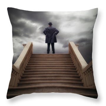 Man On Stairs Throw Pillow by Joana Kruse